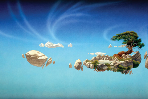 "Roger Dean ""Bonsai on floating island"""
