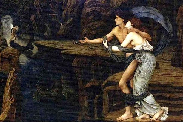 "John Roddam Spencer Stanhope ""Orpheus and Eurydice on the banks of the river Styx"""